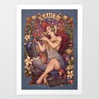 nouveau Art Prints featuring Gamer girl Nouveau by Medusa Dollmaker