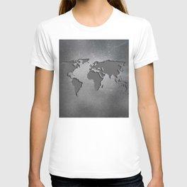 World Map Metal engraved T-shirt