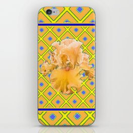 Peachy German Iris Blue & Yellow Art iPhone Skin