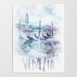 Modern Art CANAL GRANDE | jazzy watercolor Poster