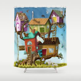 Home Sweet Tiny Tree Houses Shower Curtain
