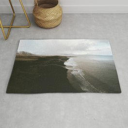Moody black sand beach in Iceland - Landscape Photography Rug