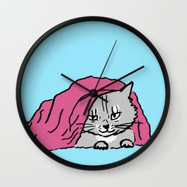 outside the bed is dangerous-Siberian cat Wall Clock