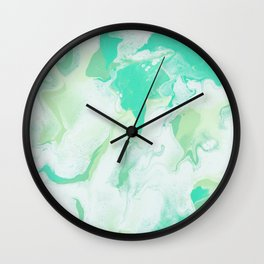Green & White Abstract Art Wall Clock