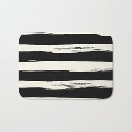 Trendy Black + Cream Stripes Bath Mat