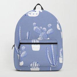 Elegant Blue Cacti in Pots Pattern Backpack