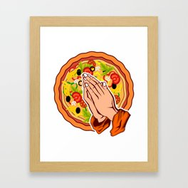 Pizza Praying Hands Gift For Pizza Lover Framed Art Print