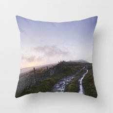 Mountain path and fence at sunset. Derbyshire, UK. Throw Pillow