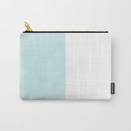 White and Light Cyan Vertical Halves Carry-All Pouch