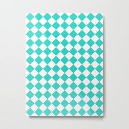 Diamonds - White and Turquoise Metal Print