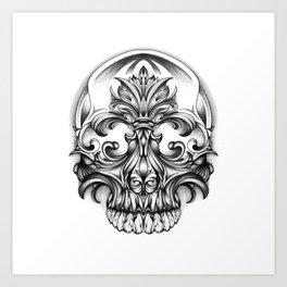 Engravering Skull Art Print