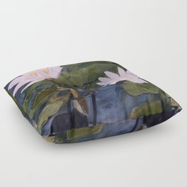 Water Lily Landscape Watercolor Nature Art Floor Pillow