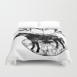 Black and white horse and the flowers Duvet Cover