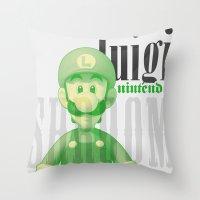 luigi Throw Pillows featuring Luigi by Thomas Official