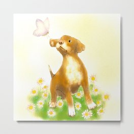 Puppy Playing With A Butterfly Metal Print