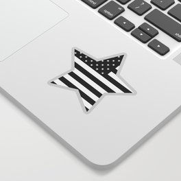 American Flag Stars and Stripes Black White Sticker