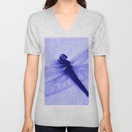 Dragonfly Frozen in Blue Unisex V-Neck