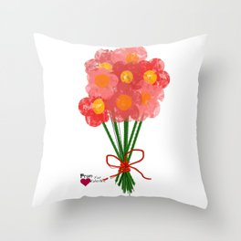Pink Flower Bouquet for Valentines Day Throw Pillow