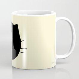 Black cat-Pastel yellow Coffee Mug