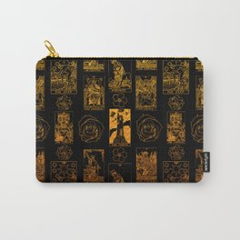 Beautiful Gold Tarot Print on Black Carry-All Pouch