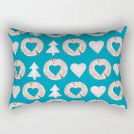 Xmas Classics Teal Rectangular Pillow