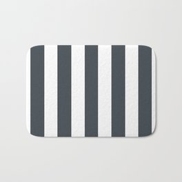 Arsenic grey - solid color - white vertical lines pattern Bath Mat