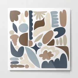 Modern Organic Abstract / Beach Colors - Browns and Blues Metal Print