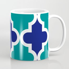 quatrefoil - big - navy and teal Coffee Mug