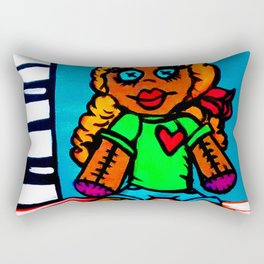Heart Voodoo Doll with piano keys background Rectangular Pillow