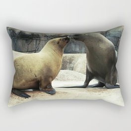 Kissing Sea Lions Rectangular Pillow