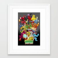 street fighter Framed Art Prints featuring Super Sesame Street Fighter by gavacho13