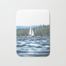 Calm Lake Sailboat Bath Mat