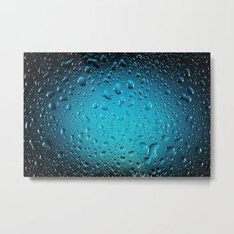 Stylish Cool Blue water drops Metal Print