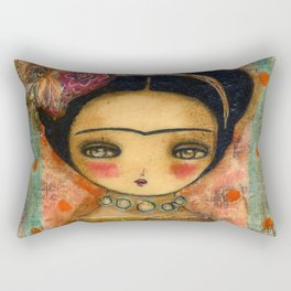 Frida In A Red And Teal Dress Rectangular Pillow
