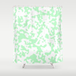 Spots - White and Light Green Shower Curtain