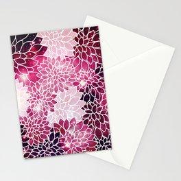 Space Dahlias Magenta Stationery Cards