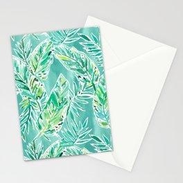 LEAFY ABUNDANCE Green Banana Leaf Print Stationery Cards