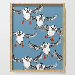 Atlantic Puffins blue Serving Tray