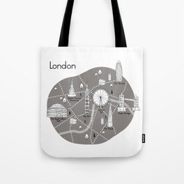 Mapping London -Grey Tote Bag