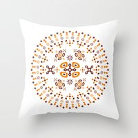 orange pattern Throw Pillows featuring Pattern - Orange by Fernando Rocks - Let's Rock the Wall