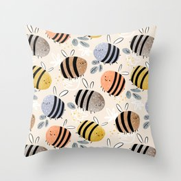 Sweet little baby bees watercolor illustration Throw Pillow