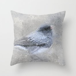 Dark Eyed Junco Bird Throw Pillow