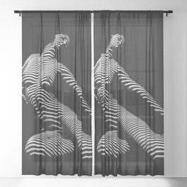 9967-DJA  Nude Woman Yoga Black White Abstract Curves Expressive Lines Slim Fit Girl Zebra Sheer Curtain
