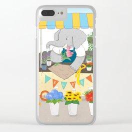 Elephant Florist Clear iPhone Case