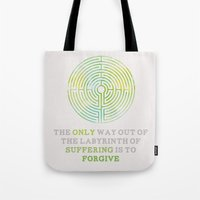 looking for alaska Tote Bags featuring Looking For Alaska: Labyrinth by lsmyang