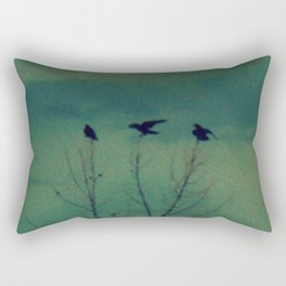 Ravens Come Gathering in a Soft Turquoise Sky Rectangular Pillow