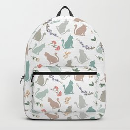 Sitting Cat with Flowers in White Backpack