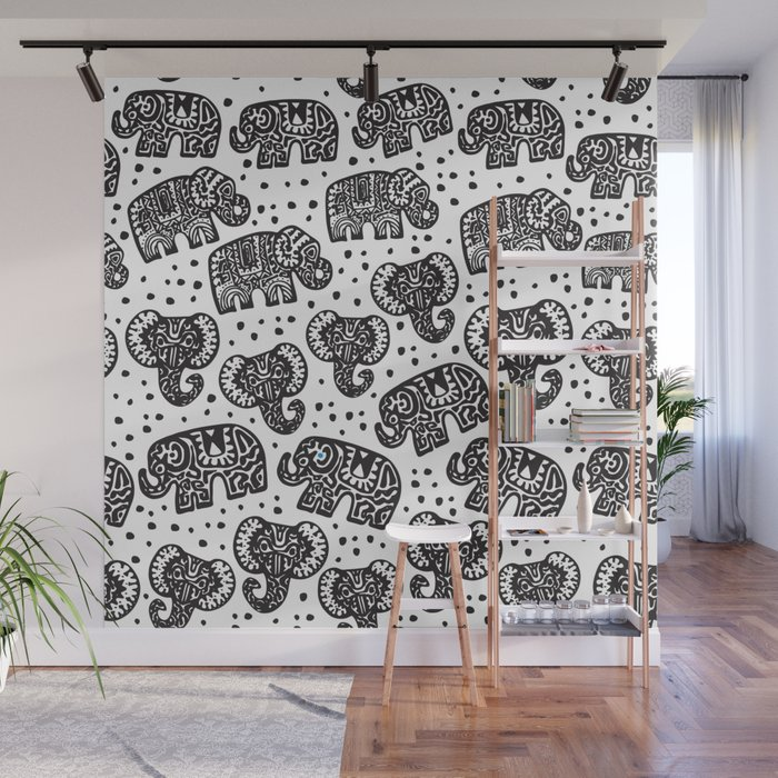 Beautiful pattern Indian Elephant with polka dot ornaments Wall Mural