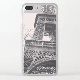 Eiffel tower, Paris, black & white photo, b&w fine art, tour, city, landscape photography, France Clear iPhone Case