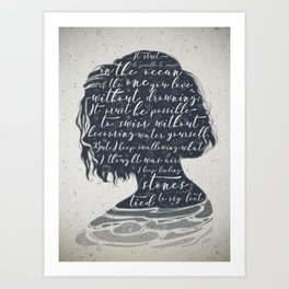 13 Reasons why. Hanna's poem silhouette. Art Print